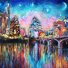 Impressionistic Austin Art Night Skyline cityscape #1 Svetlana Novikova  by Svetlana  Novikova