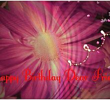 Happy Birthday Pink Flower Card for Friend by Charldia