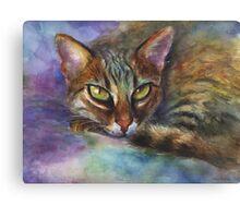 Vibrant Watercolor Bengal cat painting by Svetlana Novikova Canvas Print