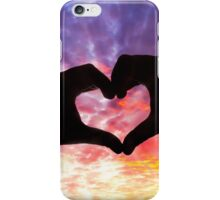 Silhouette hand in heart shape and beautiful sky iPhone Case/Skin