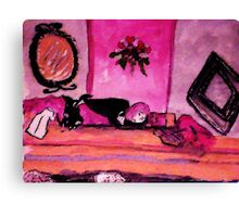 A young girl asleep in her bedroom, watercolor Canvas Print