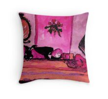 A young girl asleep in her bedroom, watercolor Throw Pillow
