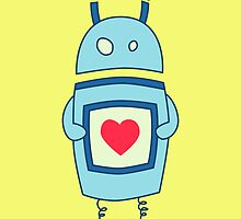 Cute Clumsy Robot With Heart by Boriana Giormova