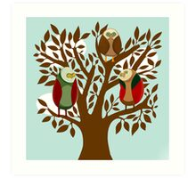 Owl Family Art Print