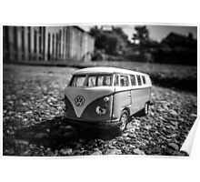 Super Mini VW Van BW Poster