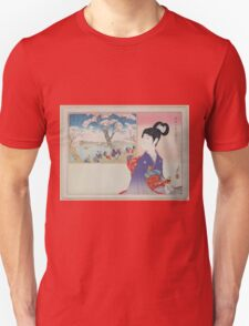 A young girl holding a doll remembers the revelry during a festival beneath blossoming cherry trees on the banks of a river 001 T-Shirt