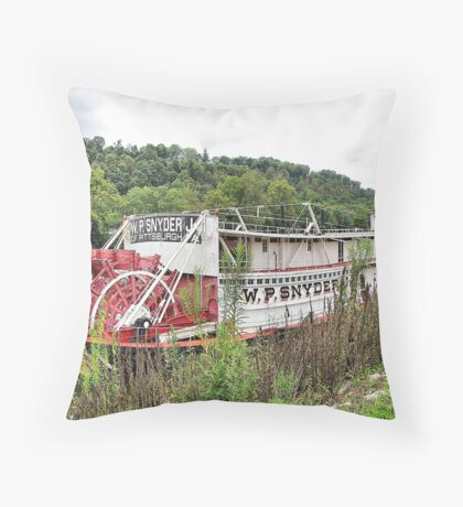 Sternly Steamer Throw Pillow