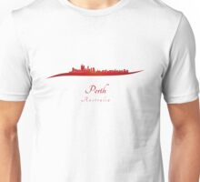 Perth skyline in red Unisex T-Shirt