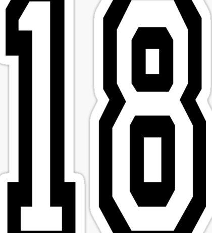 18, TEAM SPORTS, NUMBER 18, EIGHTEEN, EIGHTEENTH, ONE, EIGHT, Competition,  Sticker