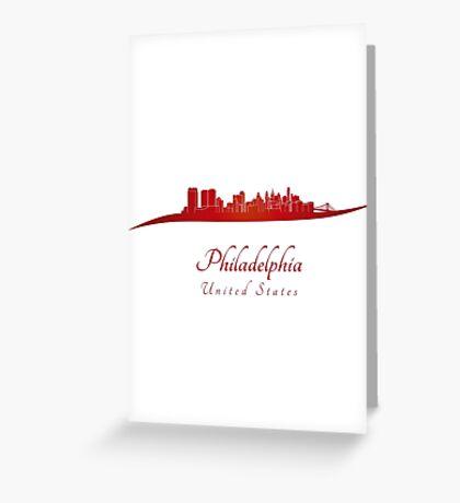 Philadelphia skyline in red Greeting Card