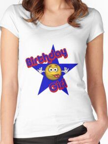 Cute Birthday Girl Smiley Face Women's Fitted Scoop T-Shirt
