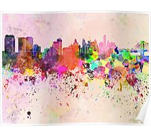 Philadelphia skyline in watercolor background Poster