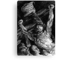 Elevation of the Cross, charcoal study after Rubens Canvas Print