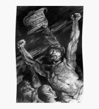 Elevation of the Cross, charcoal study after Rubens Poster