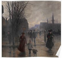 Rainy Evening on Hennepin Avenue, c.1902 Poster