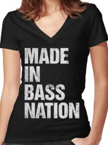 Made In Bass Nation  Women's Fitted V-Neck T-Shirt