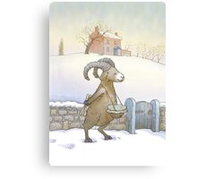 Drummer sheep (watercolor) Canvas Print
