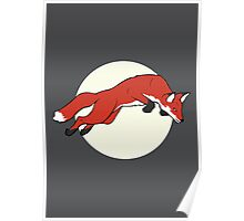 Night Fox Flies over the Moon Poster