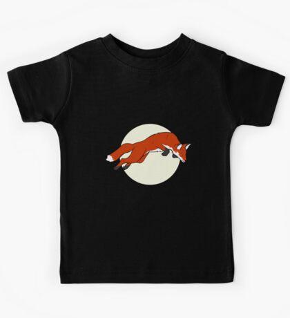 Night Fox Flies over the Moon Kids Tee