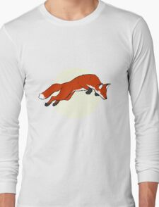 Night Fox Flies over the Moon Long Sleeve T-Shirt