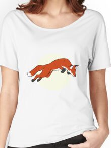 Night Fox Flies over the Moon Women's Relaxed Fit T-Shirt