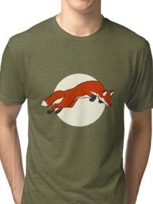 Night Fox Flies over the Moon Tri-blend T-Shirt