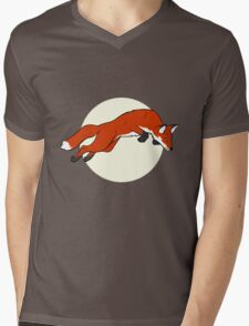 Night Fox Flies over the Moon Mens V-Neck T-Shirt