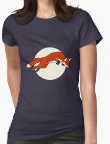 Night Fox Flies over the Moon Womens Fitted T-Shirt