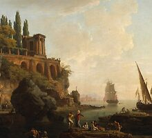 Imaginary Landscape, Italian Harbour Scene, 1746 by Bridgeman Art Library