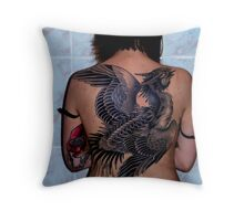 Raptor on my Back Throw Pillow