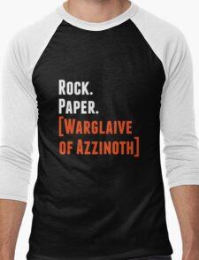 Rock. Paper. Warglaive of Azzinoth. (White) Men's Baseball ¾ T-Shirt