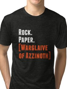 Rock. Paper. Warglaive of Azzinoth. (White) Tri-blend T-Shirt