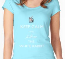 Keep Calm and follow the White Rabbit (White) Women's Fitted Scoop T-Shirt