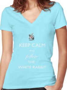Keep Calm and follow the White Rabbit (White) Women's Fitted V-Neck T-Shirt