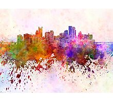 Pittsburgh skyline in watercolor background Photographic Print