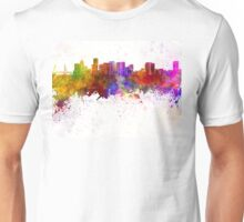 Portland skyline in watercolor background Unisex T-Shirt
