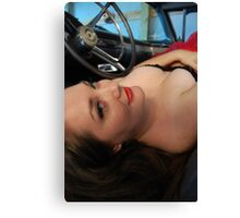 Rachel in the drivers seat Canvas Print