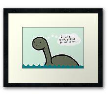 Socially Awkward Loche Ness Monster Framed Print
