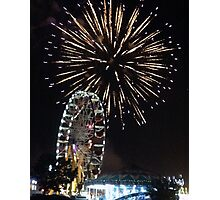 Fireworks and Ferris Wheel Print Photographic Print