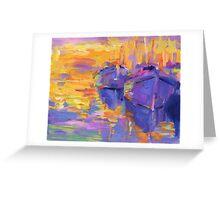 Boats in a sunset impressionistic painting Svetlana Novikova Greeting Card