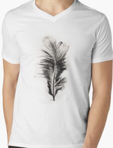 Feather in Charcoal Mens V-Neck T-Shirt