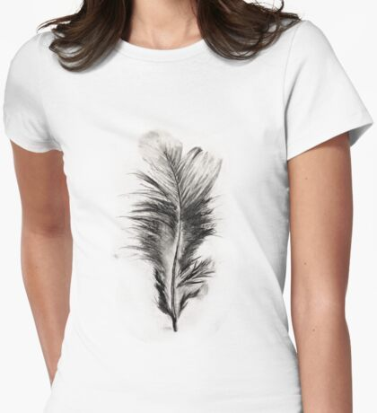 Feather in Charcoal Womens Fitted T-Shirt