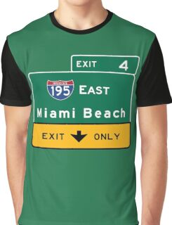 Miami Beach Road Sign, Florida Graphic T-Shirt