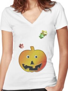 Pumpkin  Women's Fitted V-Neck T-Shirt