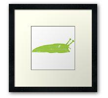 Happy Green Slug Framed Print