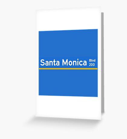 Santa Monica Boulevard, Street Sign, Los Angeles, USA  Greeting Card