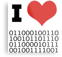 I Heart Binary Metal Print