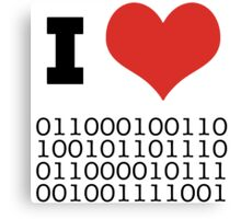 I Heart Binary Canvas Print