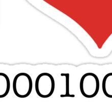 I Heart Binary Sticker
