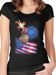 Patriotic Squirrel Women's Fitted Scoop T-Shirt